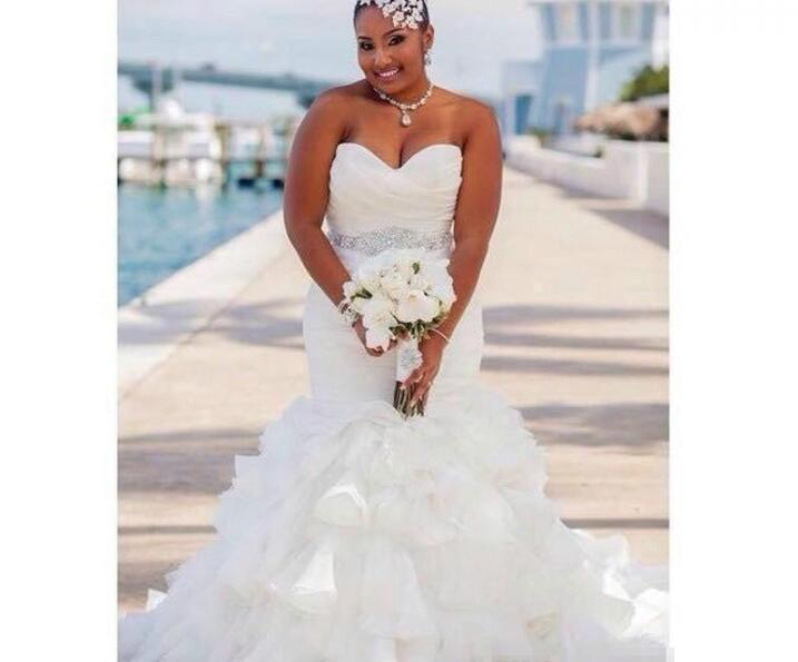 a34ce8e6158 Plus Size Gorgeous Ruffle Organza Mermaid Plus Size Wedding Dresses Africa  Tiers Beads Sash african Country