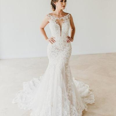 bfe7e7ace69e Sexy mermaid scoop neckline sleeveless lace wedding dresses vestido de  novia sheer bust wedding dress bridal