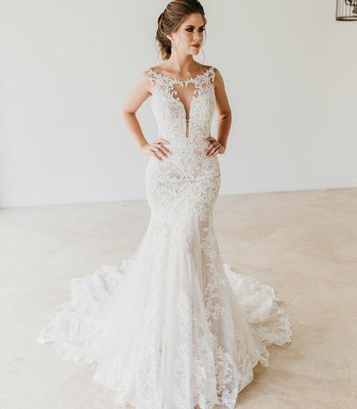 Sexy Mermaid Scoop Neckline Sleeveless Lace Wedding Dresses Vestido De Novia Sheer Bust Wedding Dress Bridal Gowns Sold By Babybridal