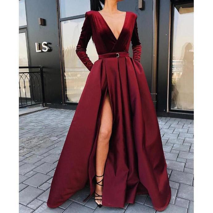 bd0df6d1256 Burgundy V Neck Long Sleeves Side Slit Long Prom Dresses Party Dress  Graduation Dress F2964