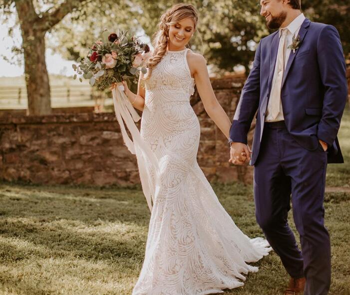768e9fdf8565 Lace Mermaid Wedding Dresses Jewel Neck Hollow Back Sleeveless Sweep Train  Appliqued Country Wedding Dress Plus
