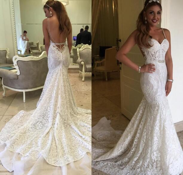 Backless Berta Bridal Gowns Mermaid Full Lace Wedding