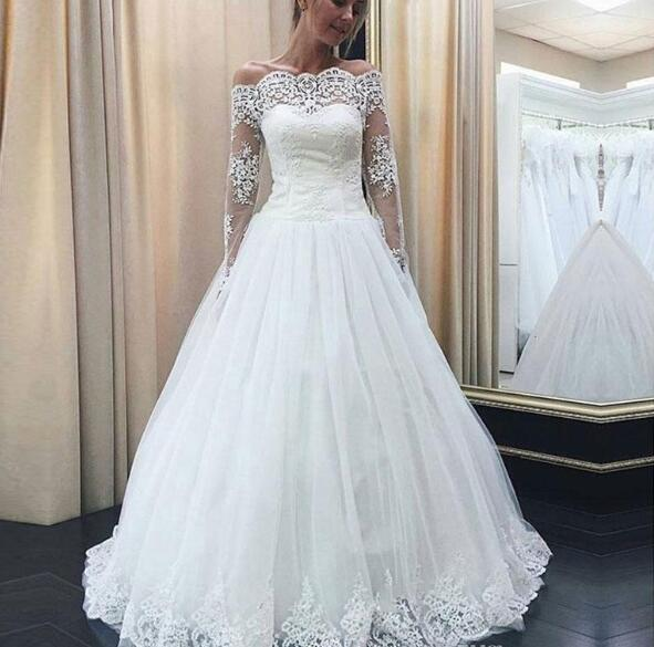 Gorgeous Boat Neck A Line Wedding Dresses Long Sleeves White Lace Appliques Wedding Gowns Vintage Bridal Dress Vestidos De Noiva From Babybridal