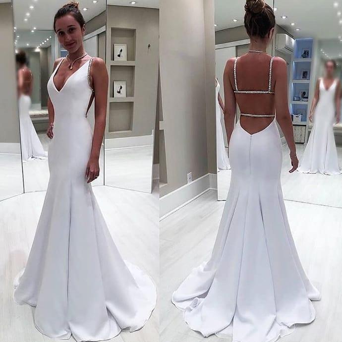 5939e04504ec Simple White Mermaid Wedding Dress Deep V Neck Backless Satin Sweep Train Bridal  Gown