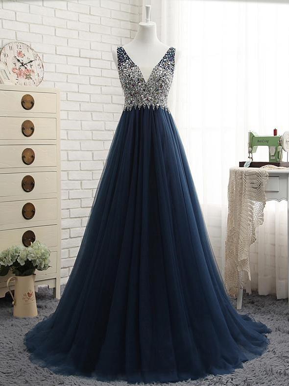 beaded v-neck dark blue tulle long prom dress on Storenvy 699bd746e