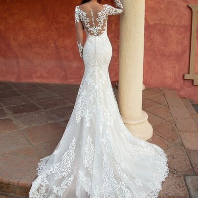 461c450c68 Gorgeous white mermaid wedding dress long sleeves lace appliques scoop neck  court train illusion handmade bridal