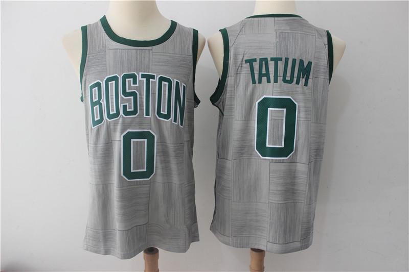 Men s Boston Celtics 0 Jayson Tatum Grey Basketball Jersey City Edition 39a770a37