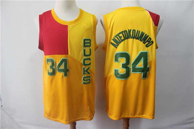 best website d4cc4 49127 Men's Milwaukee Bucks 34 Giannis Antetokounmpo Yellow 2018/19 Jersey City  Edition from vsport