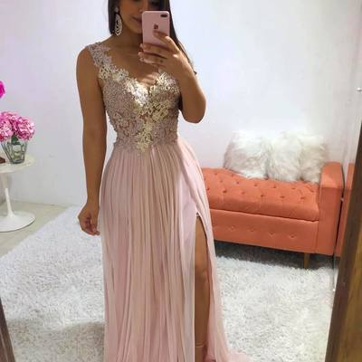 e86fe513b1a51 Stunning pink long evening dress appliques beaded side split formal prom  dresses women party gowns