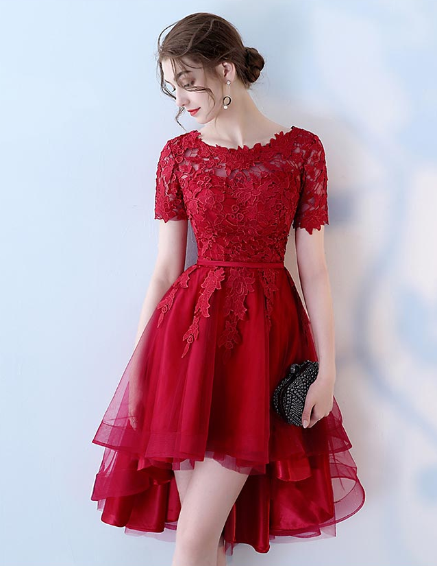 f4a16b1ba10 Burgundy lace tulle short prom dress, homecoming dress from Little Cute
