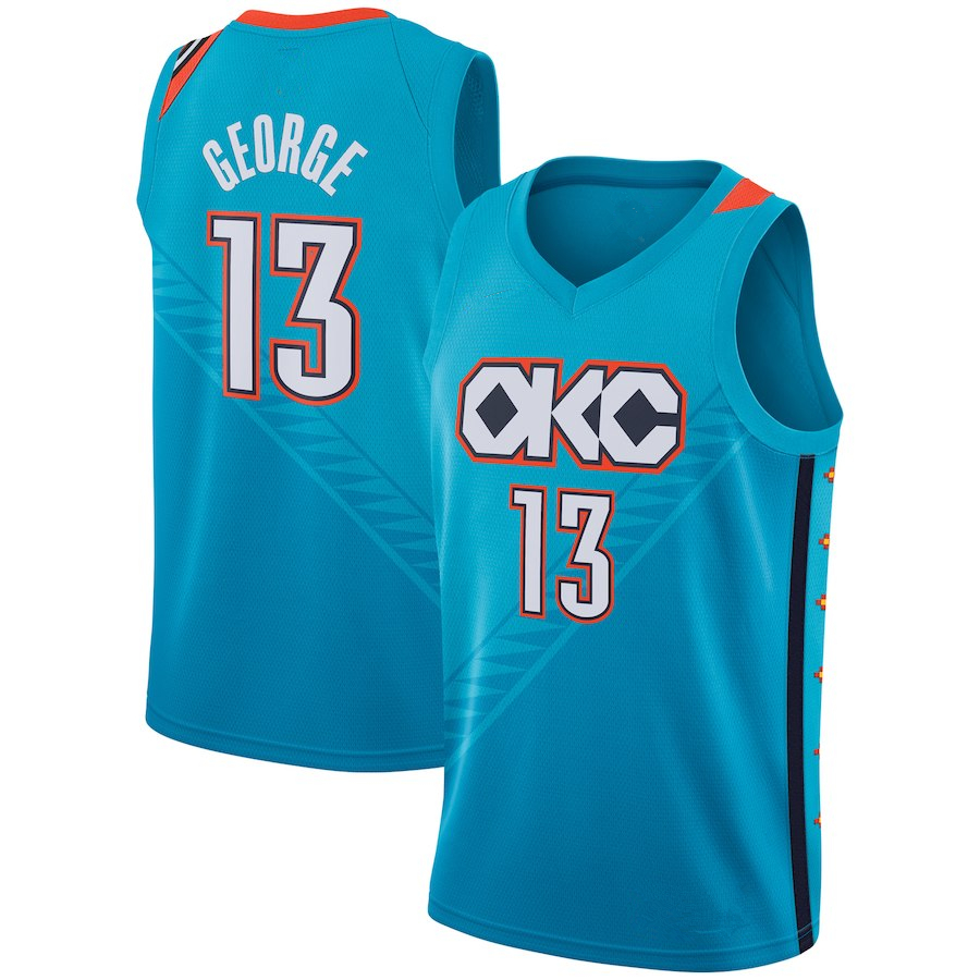 9e96a8d4b Men's Oklahoma City Thunder 13 Paul George 2018/19 Basketball Jersey  Turquoise City Edition