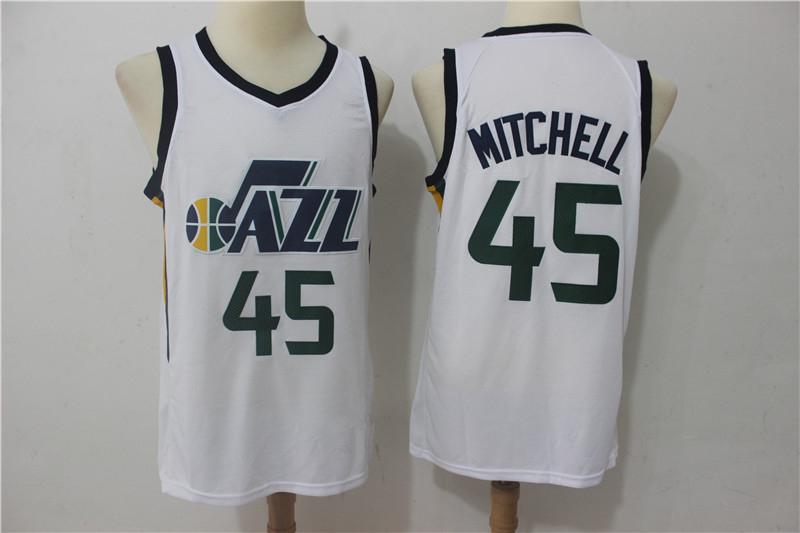 Men s Utah Jazz 45 Donovan Mitchell White Basketball Jersey · vsport ... 096481b74