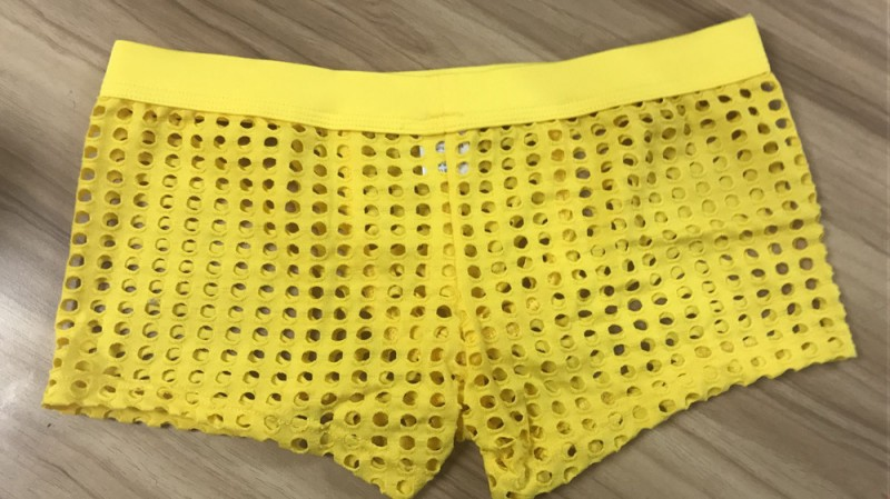 90622d437df ... Yellow sexy gay mens mesh holes transparent fishnets panties underpants  underwear - Thumbnail 4