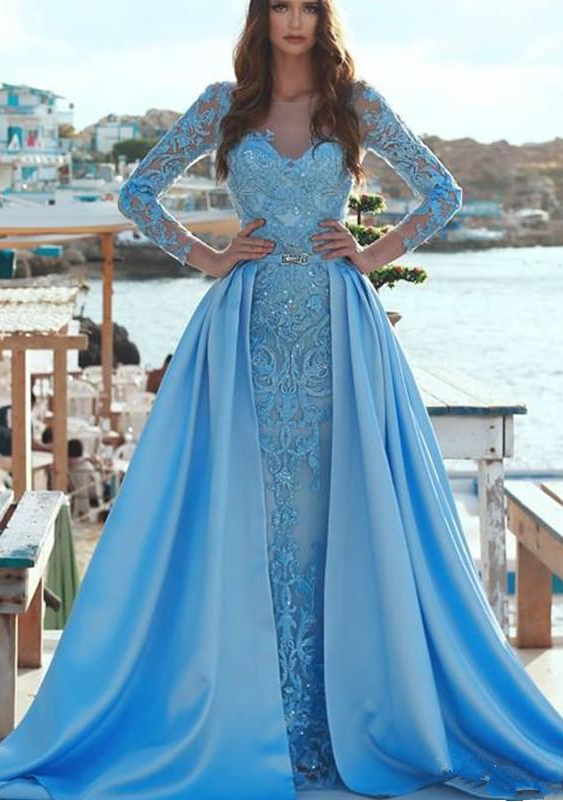 e494702aadeda Evening Dresses With Detachable Skirt Sheer Jewel Neck Long Sleeve  Appliques Lace Prom Dress Party Arabia ...
