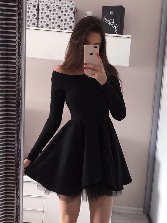 A Line Long Sleeves Off The Shoulder Black Short Dresses Homecoming