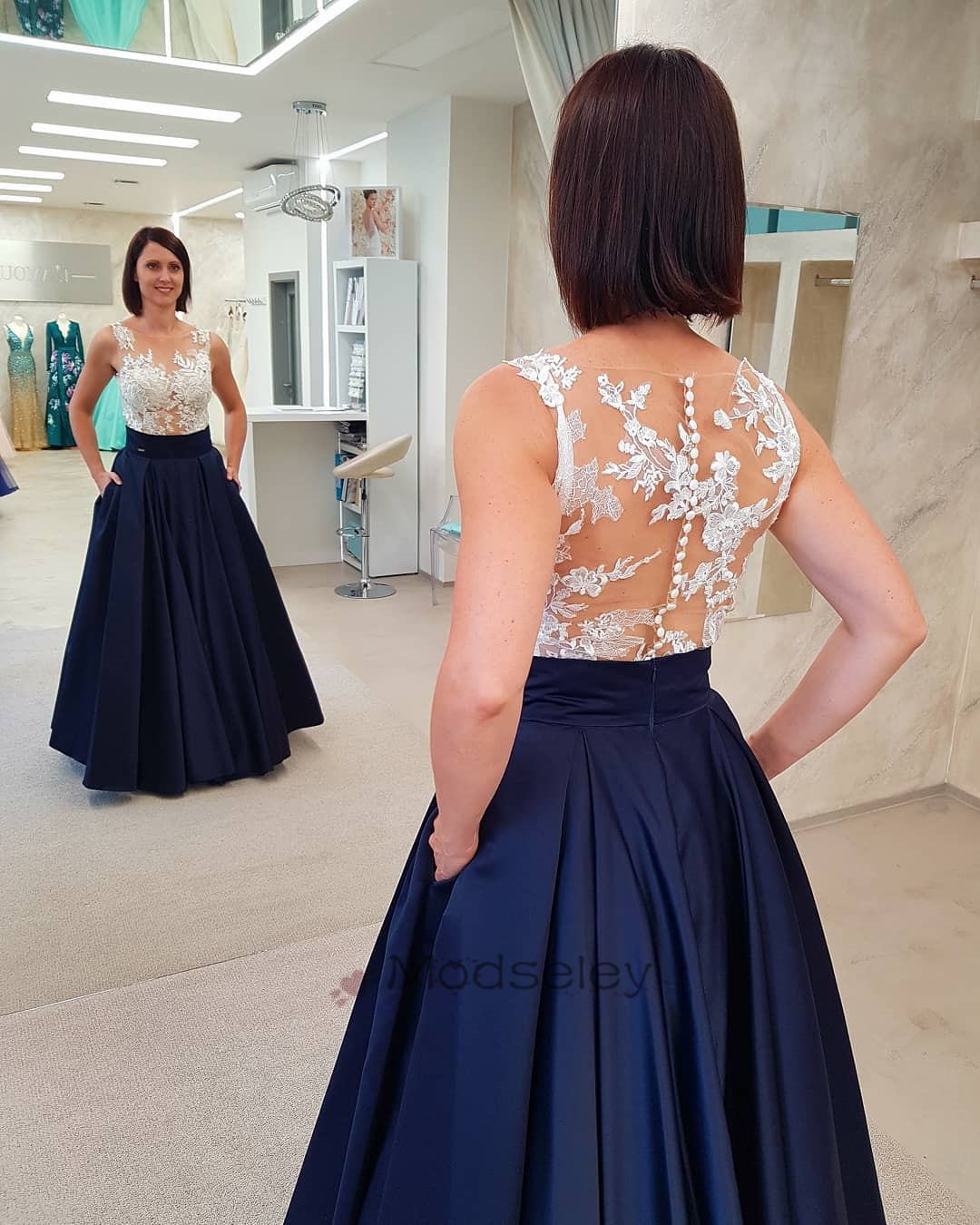 b7ac746296b8 Navy Blue Long Prom Dress with White Lace Top · modseleystore ...