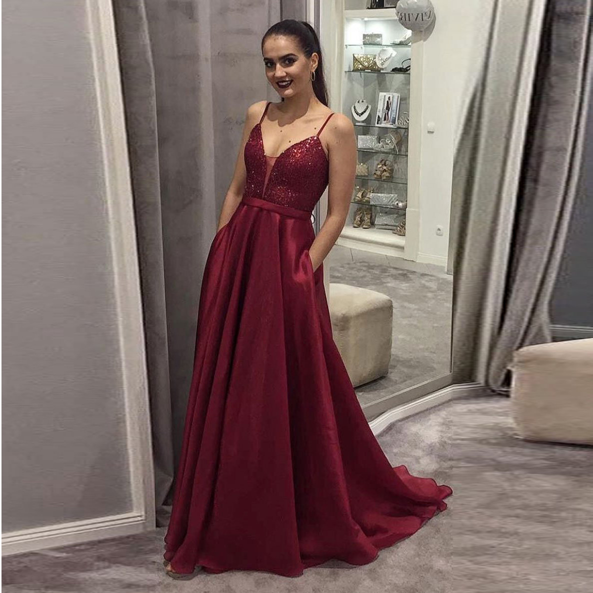 ... 2019 Burgundy Plunging Prom Dress A Line Formal Evening Gown With  Sequined Bodice - Thumbnail 3 873136aef
