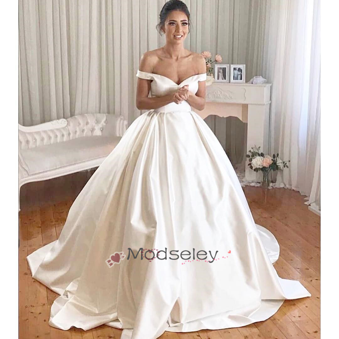 Simple Off Shoulder White Long Bridal Gown From Modseleystore