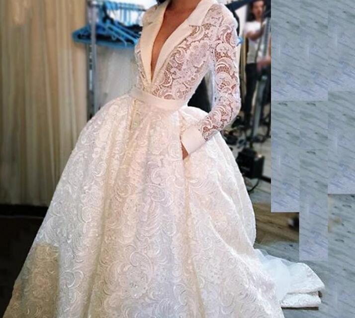 2019 Wedding Dresses With Sleeves: Full Lace Wedding Dress 2019 A Line White V-neck Bridal