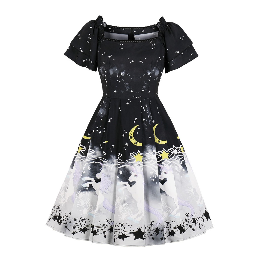 0dfc1b1d8a8 XS S M L black white star moon unicorn print ruffle sleeve gothic lolita  dress nu goth kawaii
