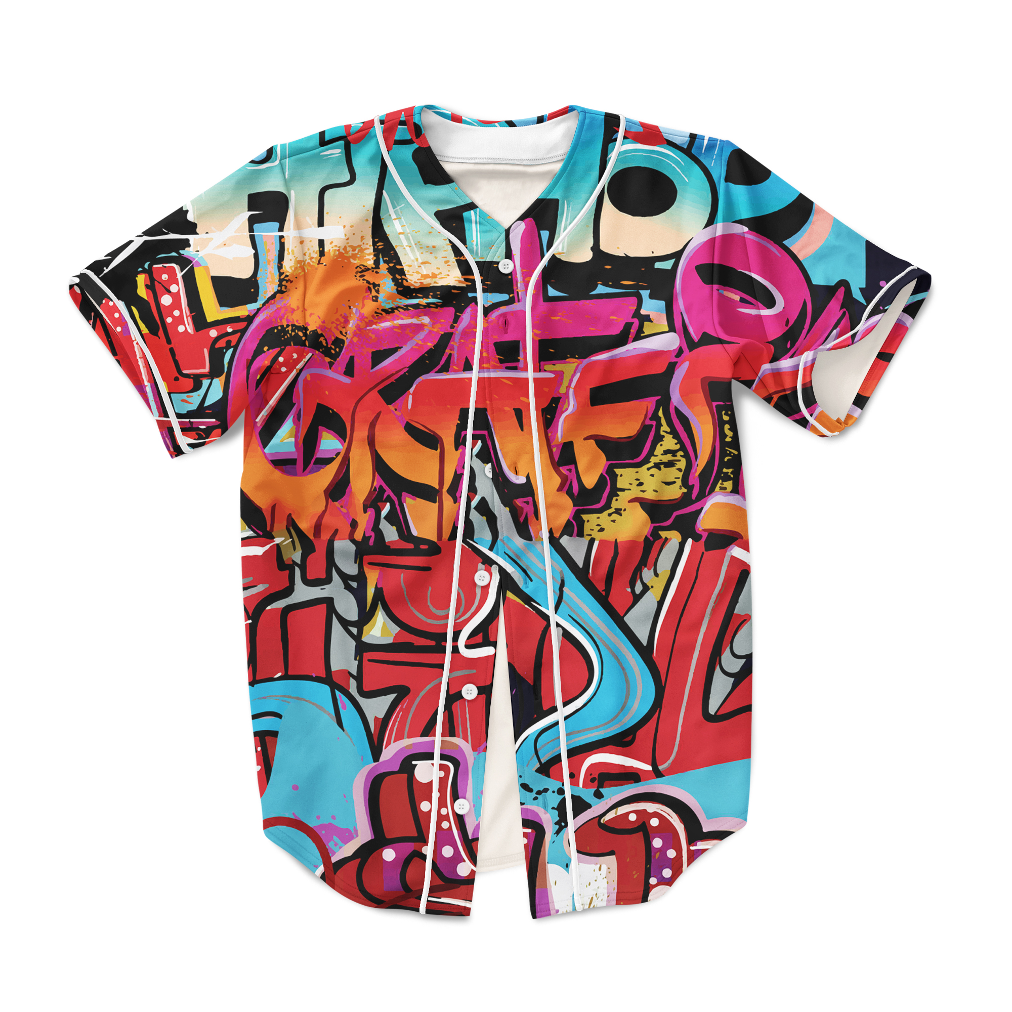 Graffiti 90s clothing baseball jersey custom made fashion 3d sublimation print plus size