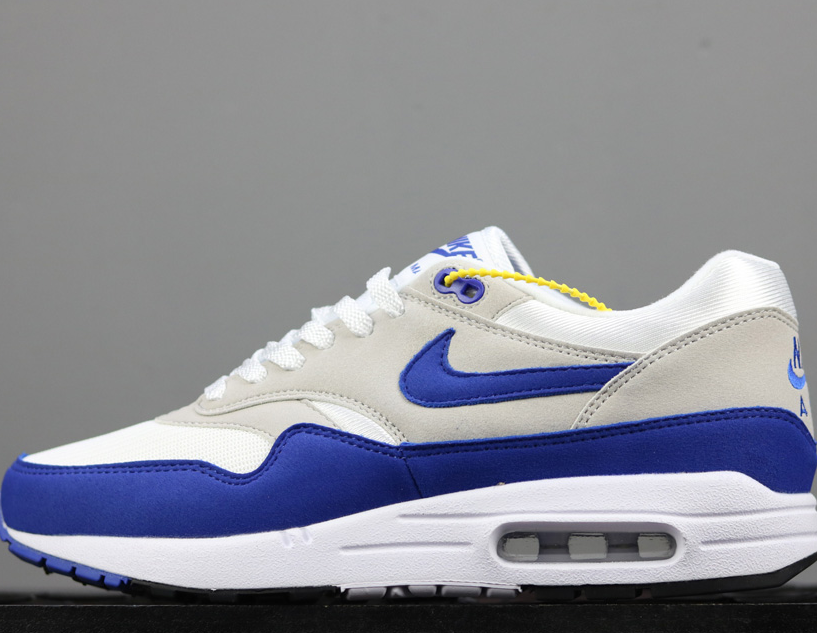 Nike Air Max 1 Anniversary 'White & Game Royal' For Sale Running Sneaker Shoes All Size Authentic