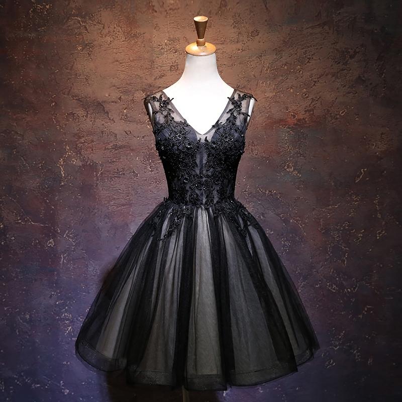f420f25a7d Black v neck tulle lace short prom dress