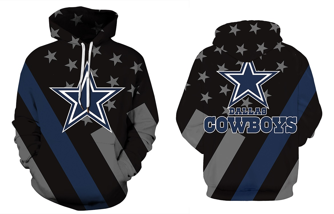 new products b6844 cb928 Dallas Cowboys NFL Football Team Hoodie Stars and Lines