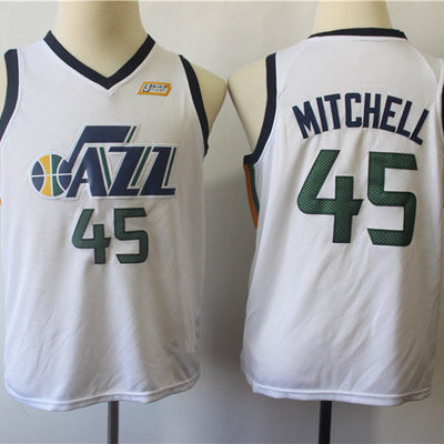 27f39dc5bc2 Youth utah jazz donovan mitchell fanatics branded white fast break replica  jersey - association edition