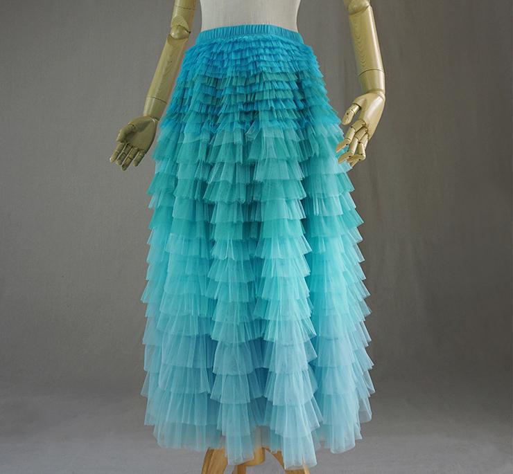 d3b2e85a1 AQUA Tiered Tulle Wedding Skirt Women AQUA Blue High Waist Wedding Tulle  Skirts Tiered Party Skirt ...