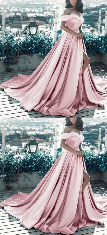 fd540dca617a1 Off The Shoulder Long Satin Prom Dress,V-neck Prom Dress,Mermaid Prom
