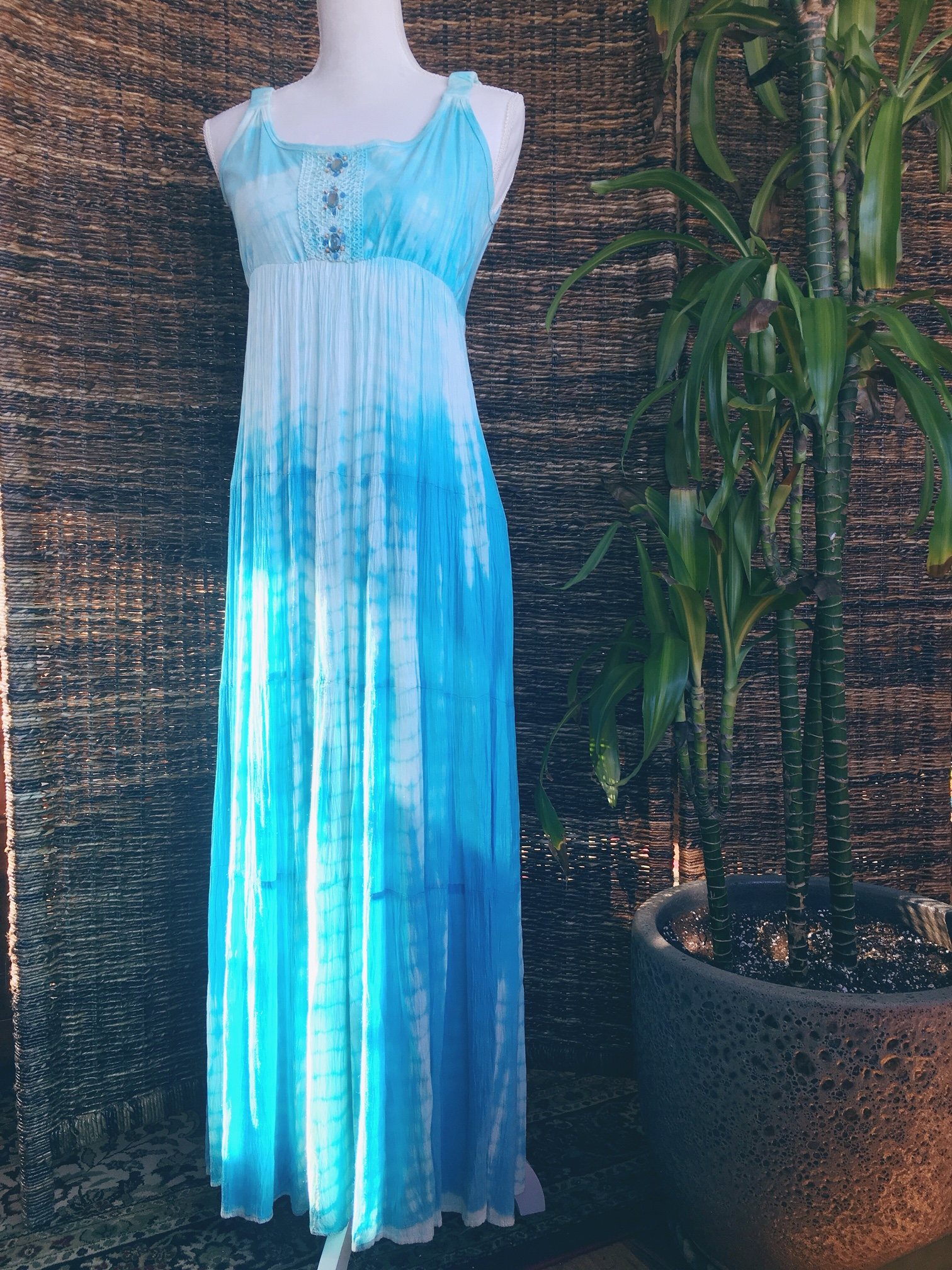 79e1c8a2449c2 S] Bead Embellished Blue Tie Dye Crinkle Fabric Maxi Dress on Storenvy