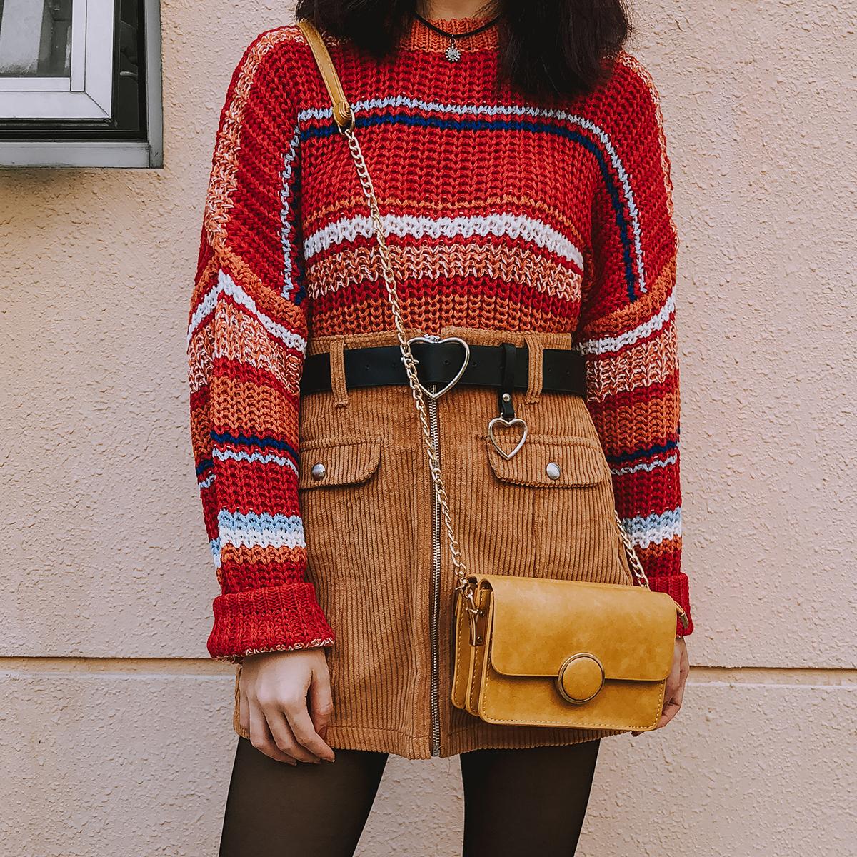 0ca1082fdaa1f6 Vintage Stripe Sweater (Red Orange) · Megoosta Fashion · Free ...