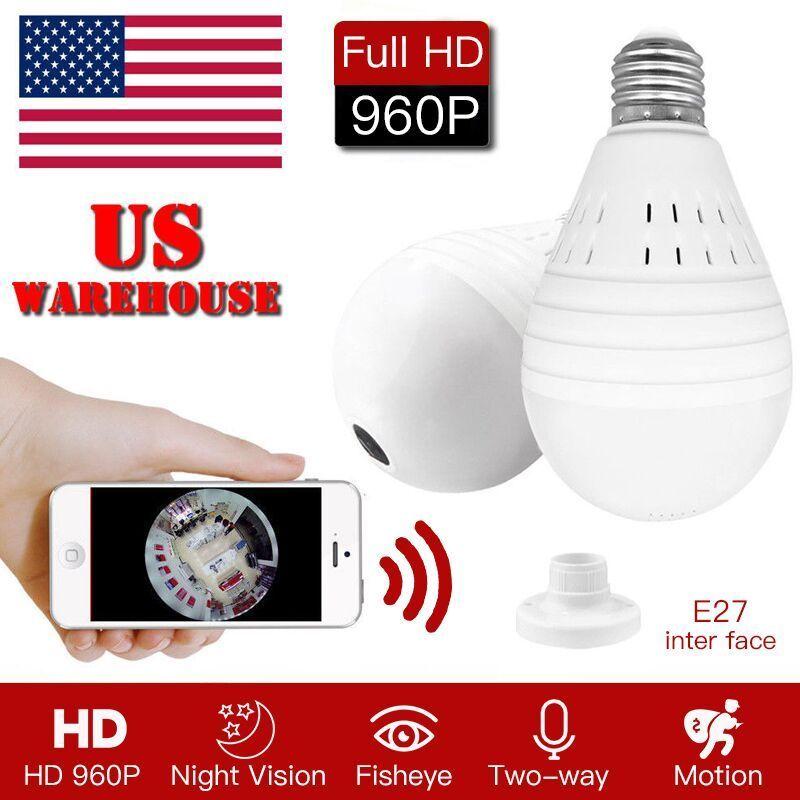 Mini Security IP Camera 360° Panoramic SPY Hidden 1080P Wifi Wireless Light Bulb