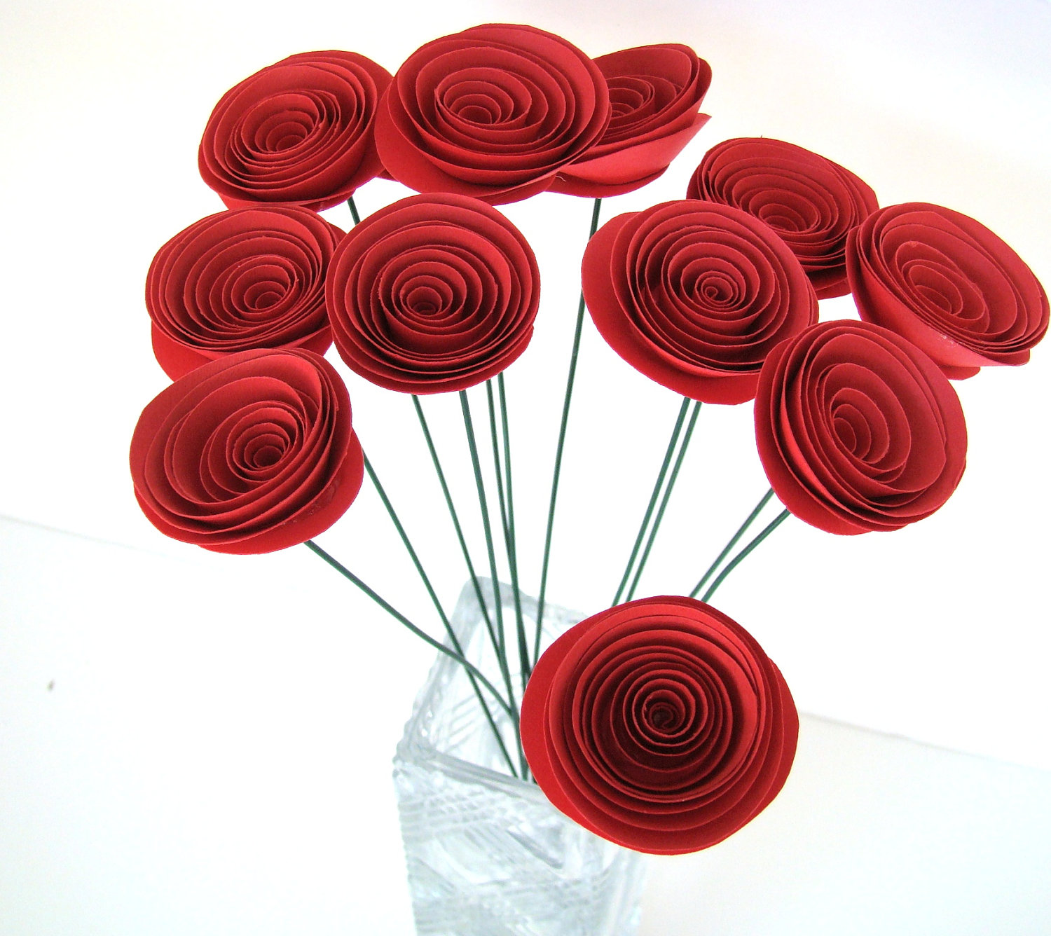 Small Red Roses One Dozen Spiral Paper Roses With Stems Origami