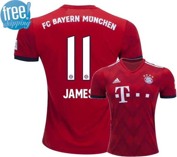 competitive price 2202d e759b James #11 Bayern Munich Home Soccer Jersey 18/19 Stadium Football Shirt Red  from Mexibro