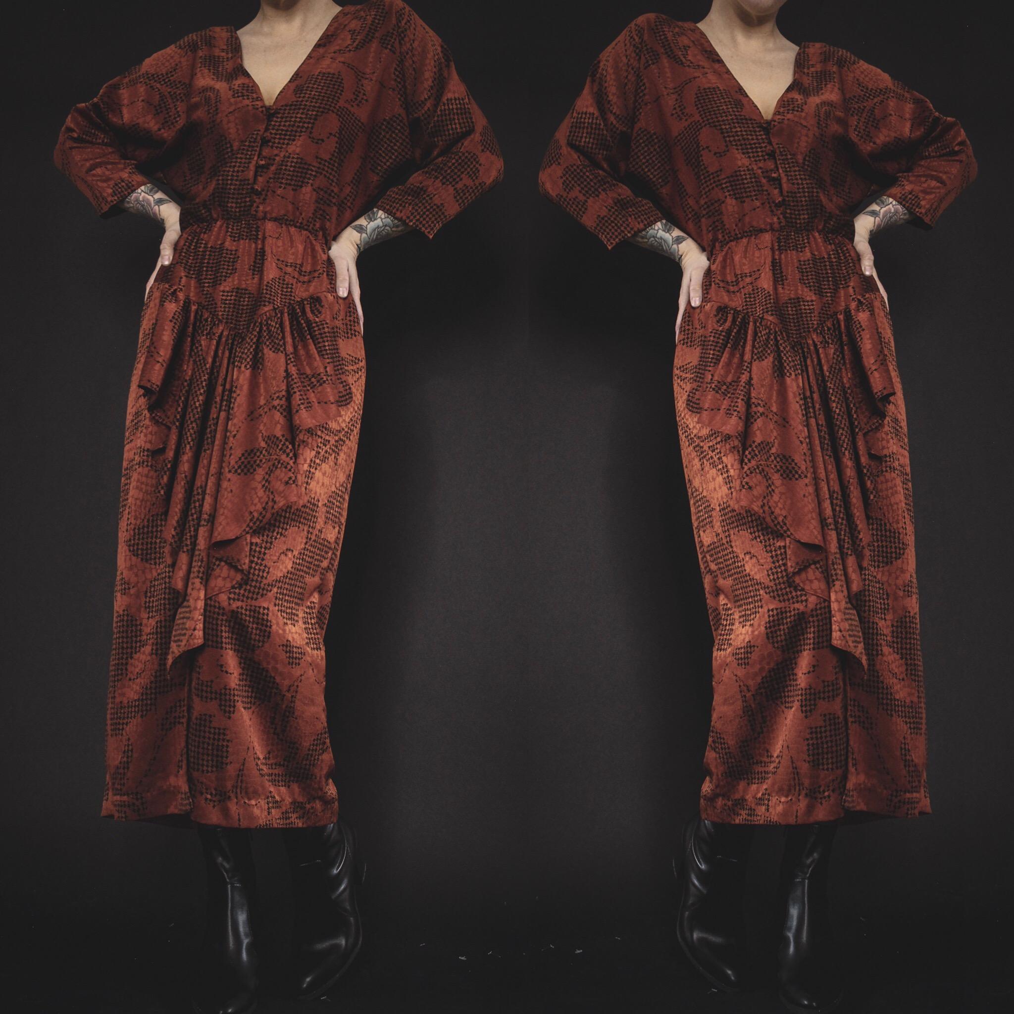 RESERVED FOR CHARLOTTE - Vintage 80s Pumpkin Batwing Midi Dress ... 72d4fddf2