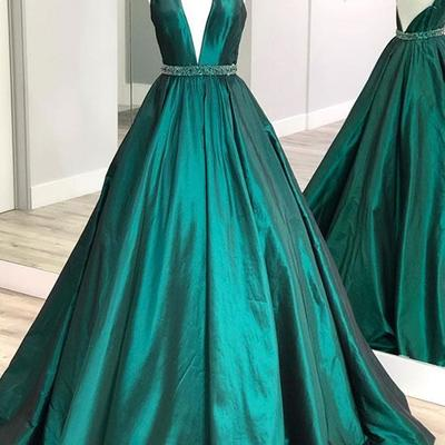 6a462643ea9 Fashion green long prom dresses deep v neck beading evening dresses