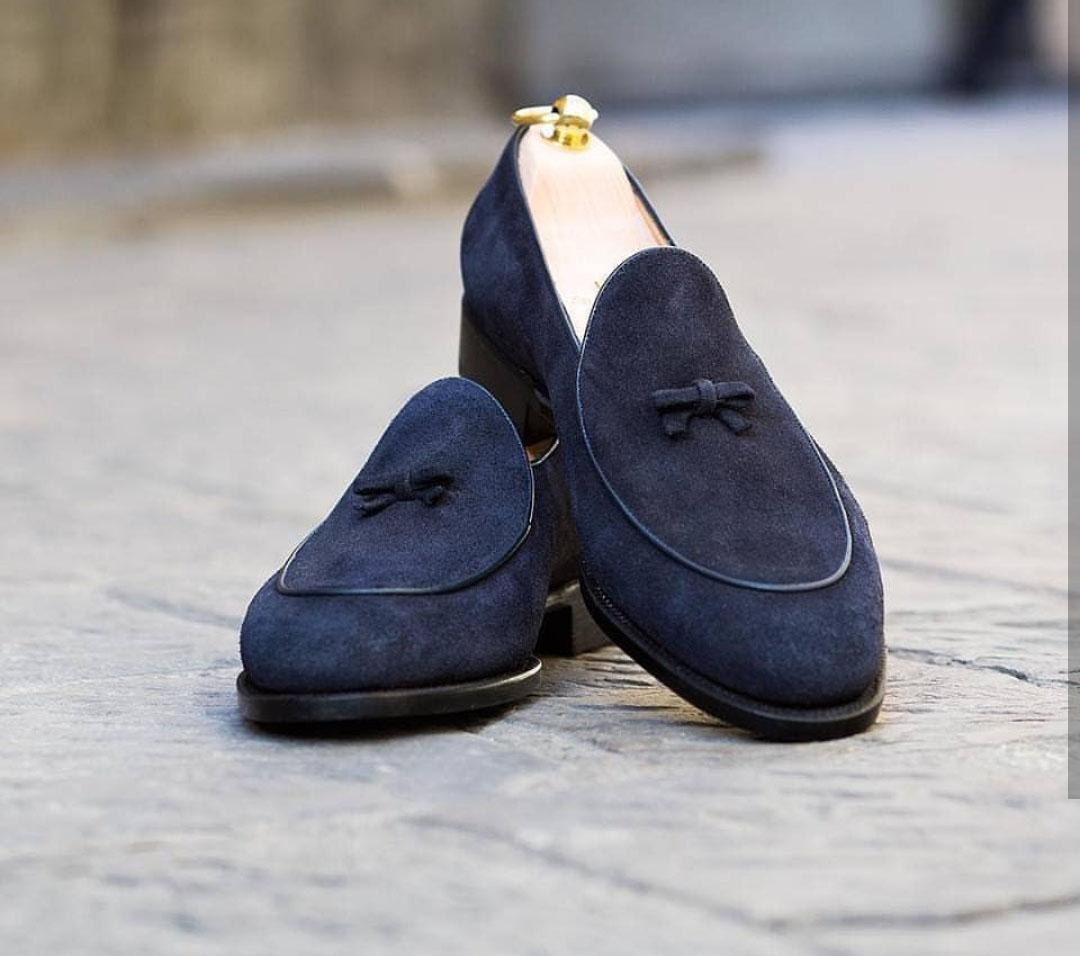 Handmade Navy Blue Suede Shoes, Men's
