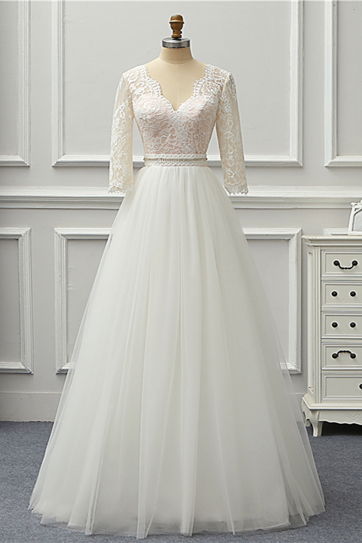 6084516033 New Design White Lace Pearl 3/4 Sleeve Beach Wedding Dress, Formal Prom  Dress