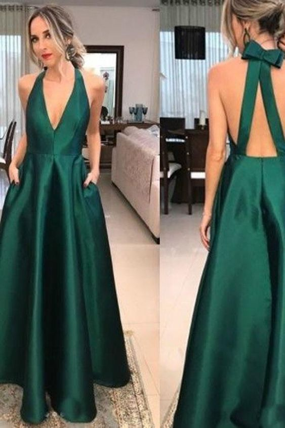 bd4df0e231b Simple Green Satin V-neck A-line Long Prom Dresses