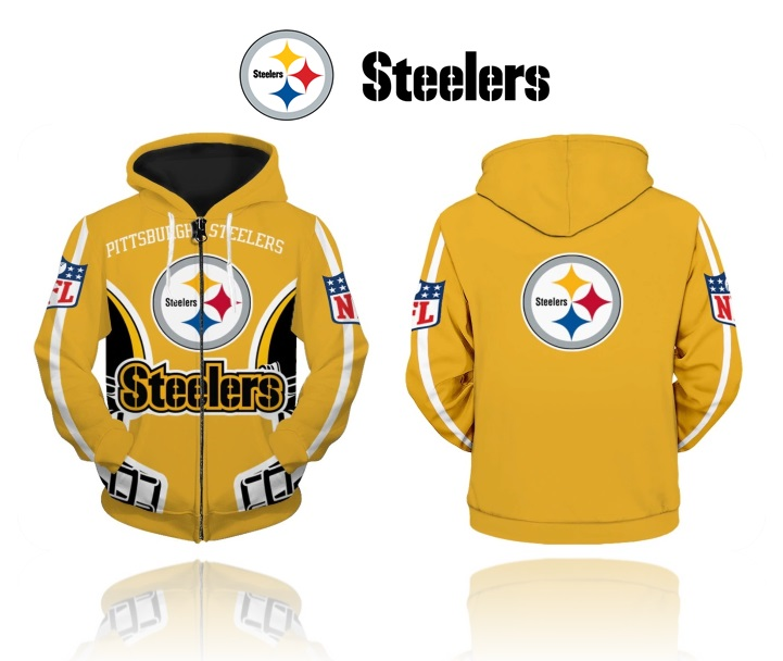 brand new 53598 38df6 Pittsburgh Steelers NFL Zip Up Hoodie Sweatshirt from SportsMegas