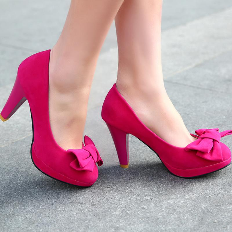 423c4f6463b1 FREE Shipping Suede Pure Color Round Toe Block Heel Bow Court Shoes -  Thumbnail 1 ...