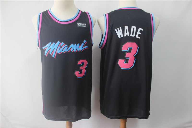 17d72d83c90 Men s Miami Heat Dwyane Wade Black 201819 Swingman Basketball Jersey – City  Edition Basketball Jersey
