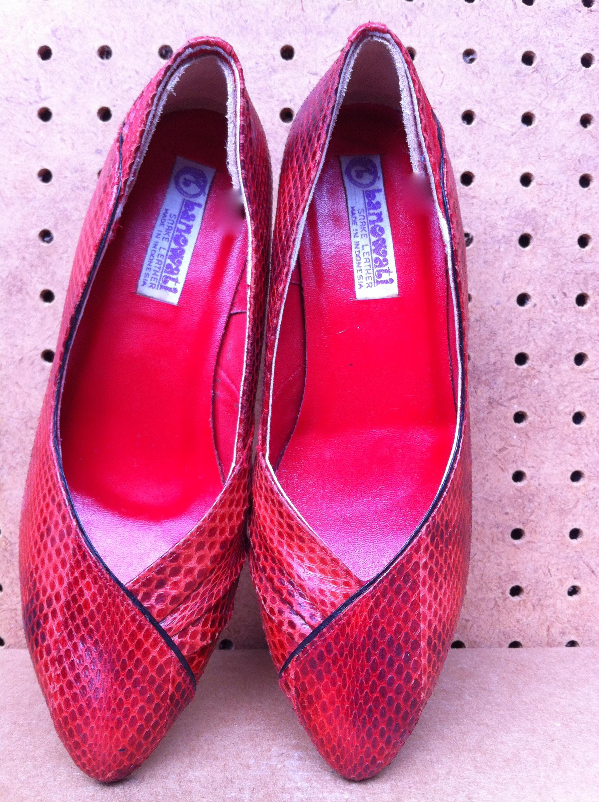 c39de2e9a0b Sexy Red Snakeskin Heels on Storenvy
