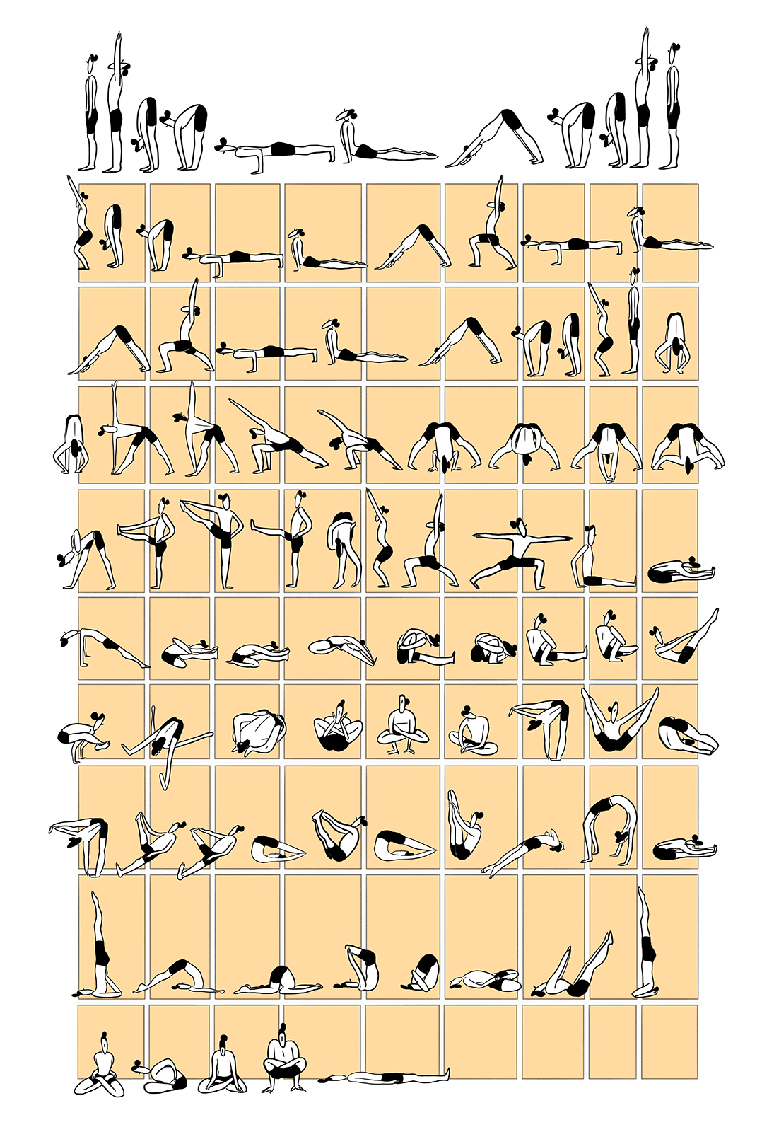 Ashtanga Yoga Primary Series Poster In Yellow Sold By Kate Haberer Creative On Storenvy