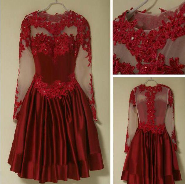 Burgundy Short Prom Dresses A Line Lace Long Sleeve