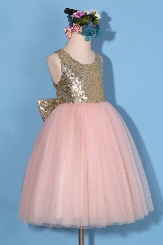 fdbc7b3a Flower girl dress/Gold pink flower girl dress/gold sequin dress/pink tulle  dress/sequin flower girl dress with bow/pink pageant dress on Storenvy