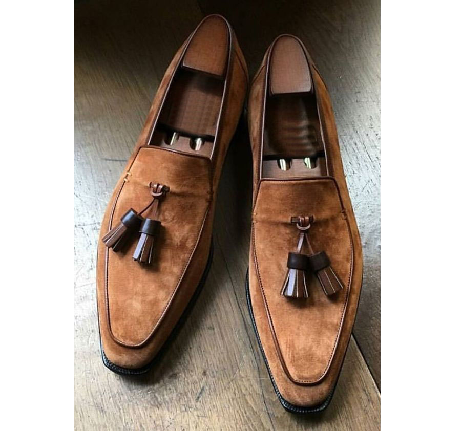 a6bfb9e585418 Handmade Men's Oxford Tassels Shoes, Men's Brown Suede Formal Loafer Shoes  - Thumbnail ...