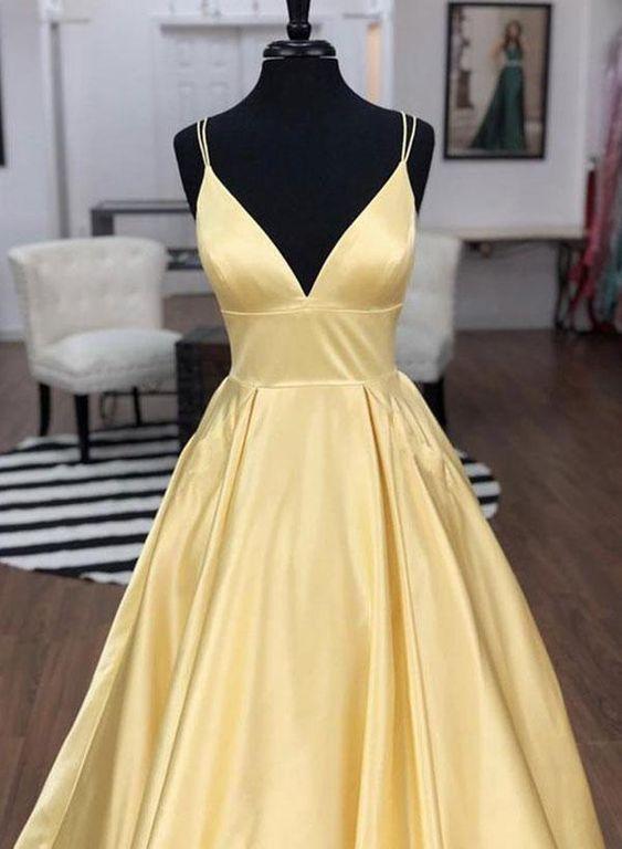 9ac48a828f Simple v neck satin long prom dress